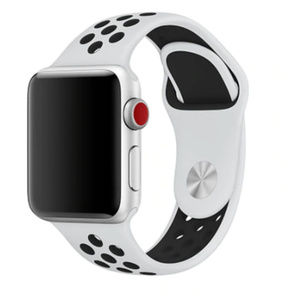 NEW BLACK WHITE Silicone Band  For Apple Watch
